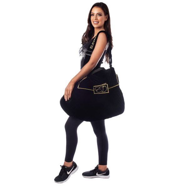 The Luxury Black Velvet Dress Bag from Elevation Design with model