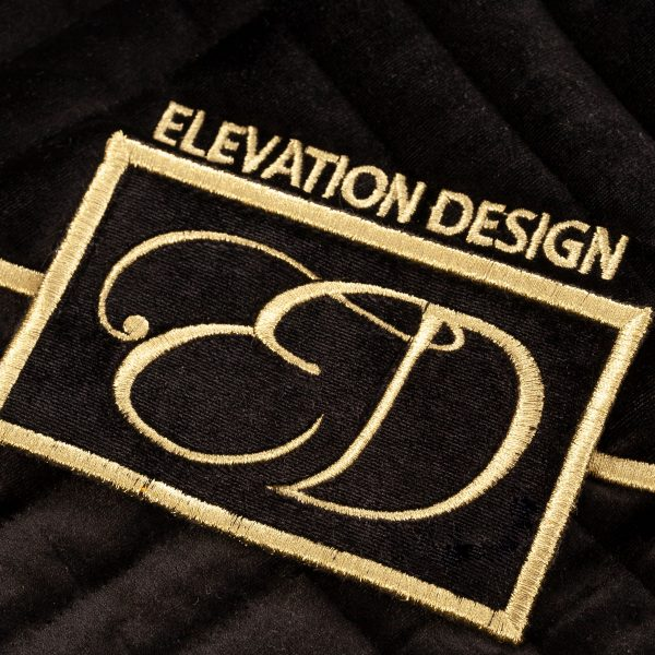 The Luxury Black Velvet Dress Bag from Elevation Design logo close up
